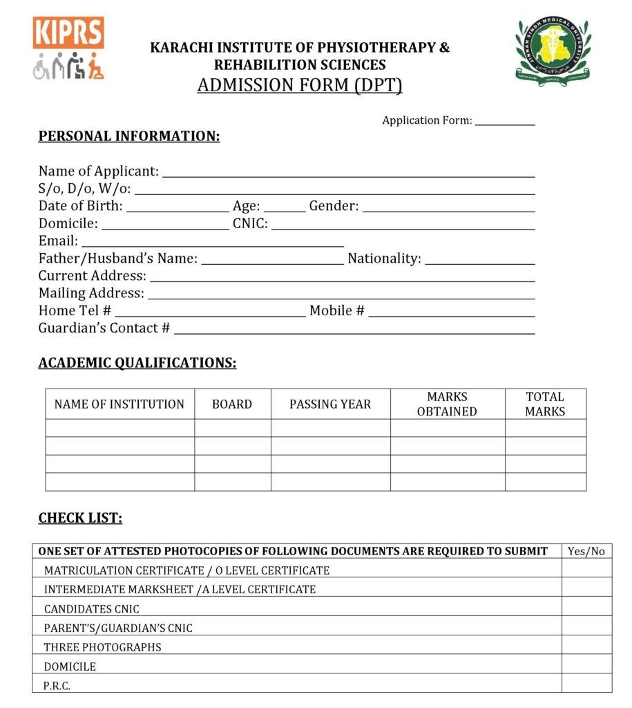 dpt admission form